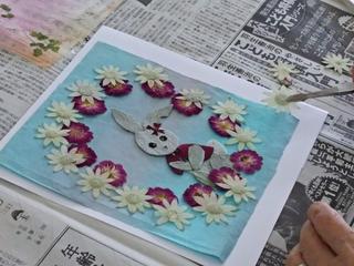 マリーナ河芸 カルチャースクール 押し花 うさぎ ブルー.JPG
